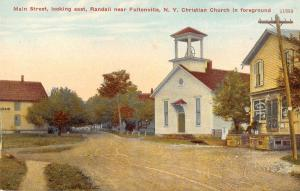 Randall New York east on Main Street Christian Church antique pc Z11082