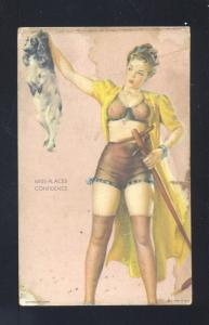 VINTAGE RISQUE PINUP GIRL MISS PLACED CONFIDENCE SEXY PRETTY WOMAN MUTOSCOPE