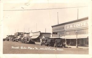 Wolf Point Montana~Main Street~JC Penney~Stephen Mercantile~1920s Cars~RPPC