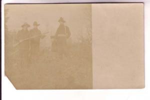 Real Photo, Men at Hunting Camp with Rifles
