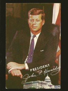 USA President John F Kennedy Signed Color Lusterchrome Postcard