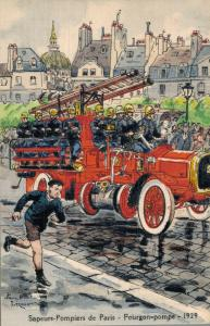 Sapeurs Pompiers Paris Fourgon Pompe 1929 Pierre Albert Leroux Firefighter 02.00