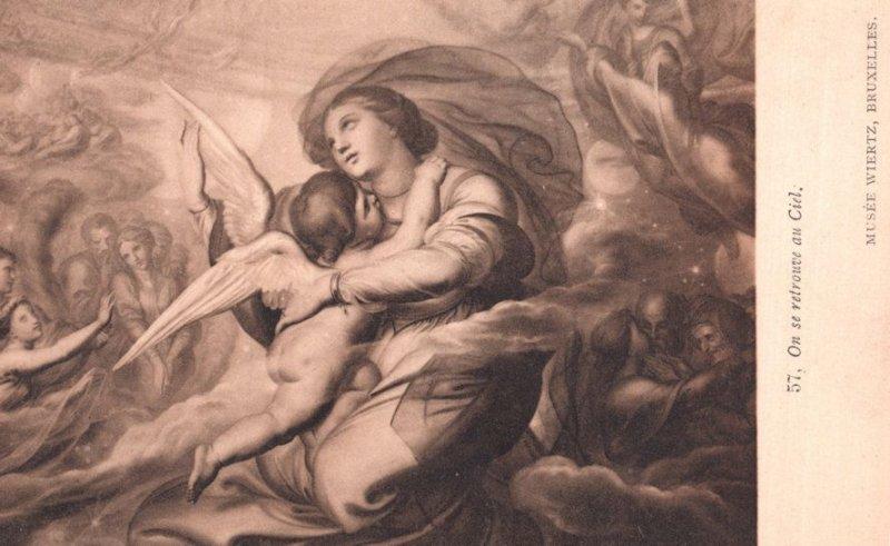 On Se Retrouve au Ciel. A. Wiertz Antique Painting Postcard