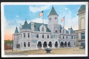Post Office Augusta Maine 1918 C.T. American Art