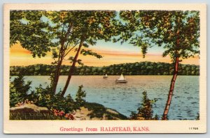 Halstead Kansas~Sailboats on Water~View From Rocky Bank~1942 Linen Postcard