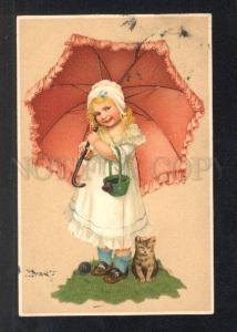 033068 Lovely Girl & KITTEN. Vintage MEISSNER & BUCH