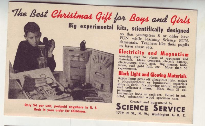 P304 JL 1946 postcard advertise science fun kits