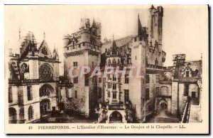 Old Postcard Pierrefonds The Main Staircase The Dungeon and the Chapel