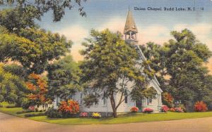 Budd Lake New Jersey~Union Chapel~Open Bell Tower~Flower Bushes~1951 Linen PC