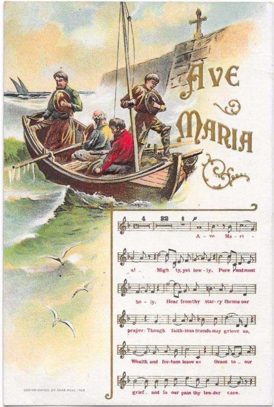Ave Maria Sheet Music With People in Boat - Embossed c1910 Postcard