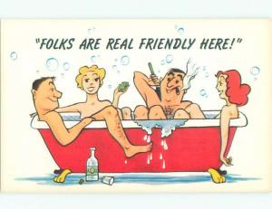 Pre-1980 Risque Comic MANY PEOPLE NUDE IN BATHTUB AB6988-12