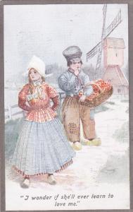 NETHERLANDS, 1900-1910's; Windmill, Girl Ignoring A Boy, I Wonder If She'll ...