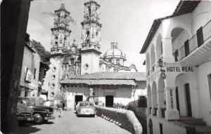 TAXCO GUERRERO MEXICO SANTA PRISCA CHURCH~HOTEL REAL~REAL PHOTO POSTCARD 1963