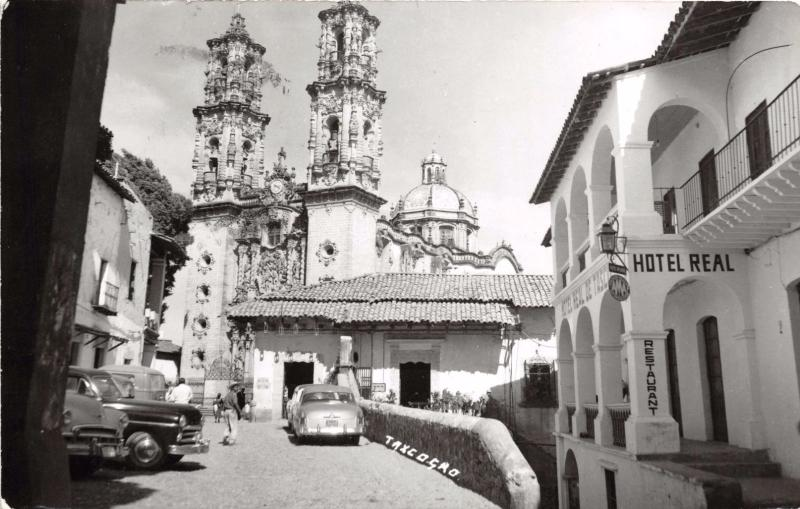 TAXCO GUERRERO MEXICO SANTA PRISCA CHURCH~HOTEL REAL~REAL PHOTO POSTCARD 1963