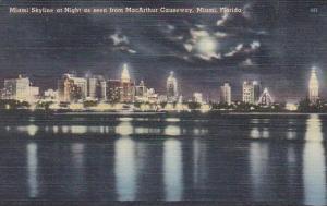 Miami Skyline At Night As Soon From Macarthur Causeway Miami Florida 1950