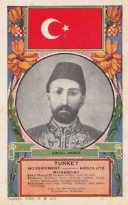 King of Turkey & Flag , 1909 ; Abdul Hamid
