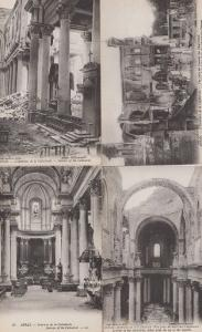 Arras France Cathedral Interior Bomb Damage WW1 4x Wartime Military Postcard s