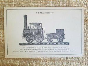 THE STOURBRIDGE LION,FIRST US LOCOMOTIVE,HANESDALE,PA.1829.VTG POSTCARD*P27
