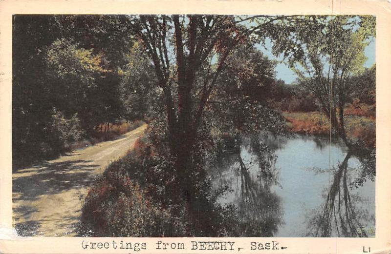 Beechysask >> Canada Greetings From Beechy Saskatchewan Road Lake Hippostcard