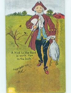 Pre-Linen comic A BIRD IN THE HAND IS WORTH TWO IN THE BUSH HL2774