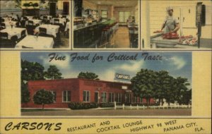Panama City FL Carson's Restaurant Linen Postcard - Chef