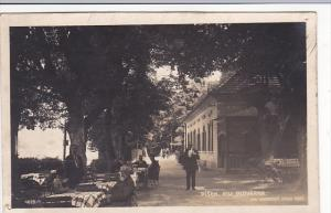 Czechoslovakia Pisek Voj Plovarna Sidewalk Cafe Real Photo