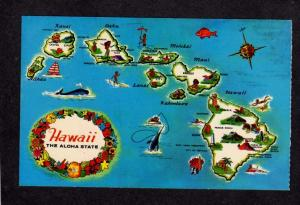 HI State Map of the Islands of Hawaii Postcard including Maui, Kauai, Molokai