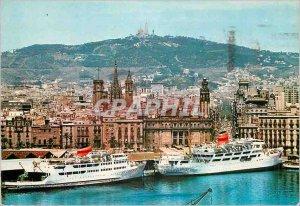 Modern Postcard Port Barcelona Cathedral and Via Layetana Boat Station