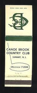 Canoe Brook Country Club Matchcover, Summit, New Jersey/N...