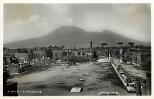 Italy 1930s Real Photo Postcard Pompei Foro Civile Volcano