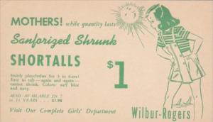 Advertising Wilbur-Rogers Sanforized Shrunk Shortalls Play Clothes