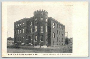 Springfield Missouri~YMCA Castle Building~Billboard: Groceries~Shoe Co~c1905