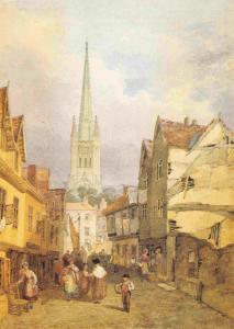 Watercolour Art Postcard Cowgate, Norwich (1867) by Henry Ninham