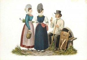 Switzerland swiss early folk costumes ethnic types Schwyz