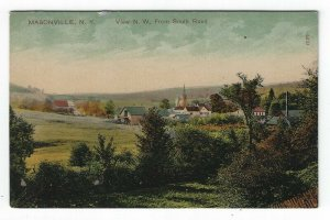 Masonville, New York, Vintage Postcard Birds-eye View N. W. From South Road