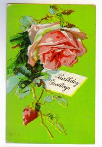 Linden to Attica, New York 1909 used Embossed Birthday Greetings Postcard