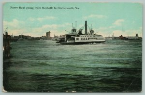 Norfolk-Portsmouth Virginia~Ferry Boat in Transit~Shoreline in Distance~1911