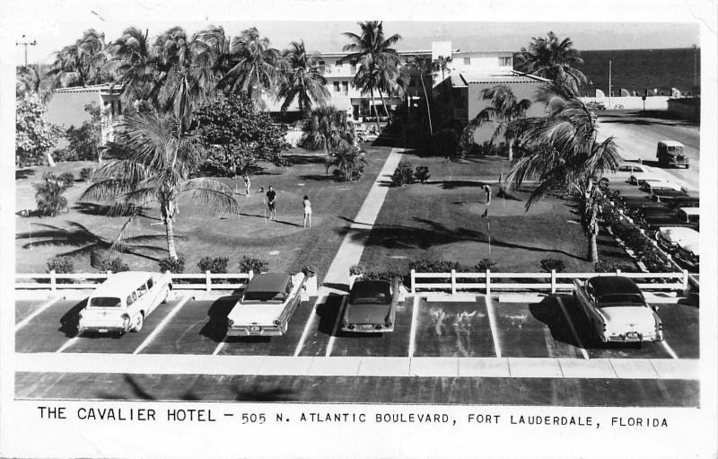 Fort Lauderdale Florida~Cavalier Hotel~1950s Cars in Lot~Golf~1957 RPPC