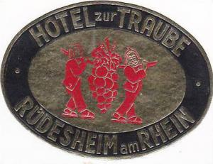 GERMANY RUEDESHEIM HOTEL ZUR TRAUBE VINTAGE LUGGAGE LABEL