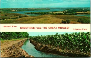 Vtg Postcard - Greetings from the Great Midwest - Missouri River - Unused Chrome