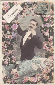 1er Avril April Fool's Day Man With Fish 1906