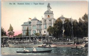 Buenos Aires, Argentina Postcard TIGRE HOTEL Boating Scene Hand-Colored c1910s