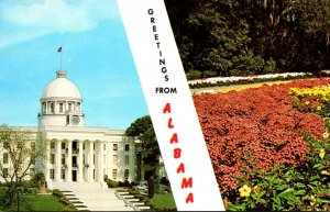 Alabama Greetings Showing State Capitol Building and Bellingrath Gardens