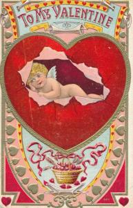 To My Valentine Greetings - Cupid breaking out of Heart - DB