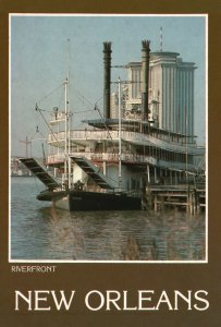 Vintage Postcard Steamboat Natchez Berthed at New Orleans Riverfront Louisiana