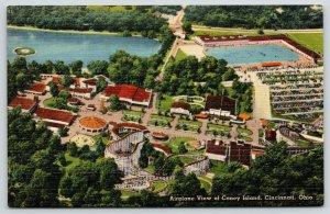 Cincinnati Ohio~Coney Island Aerial View~Carousel~Roller Coaster~1940s Linen PC