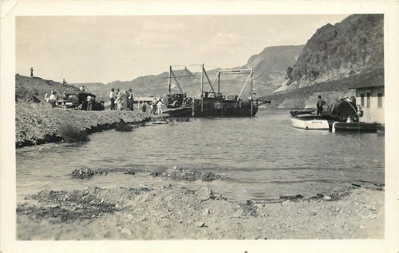 Early Vintage 1930s Car Ferry~Miss Q Rowboat~Fuel Tanker Service Station RPPC