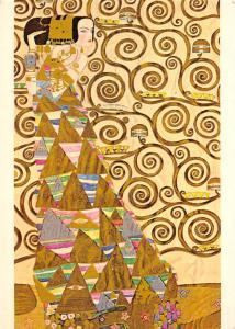 Gustav Klimt, Die Erwartung Werkvorlage zum Stocletfries Mischtechnik Postcard