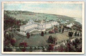 Watkin New York~Glen Springs Hotel Birdseye Panorama~Seneca Lake~1920s Postcard