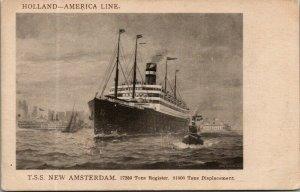 Ship~Holland America Line Steamer~TSS New Amsterdam~Artist~1920s Sepia Postcard